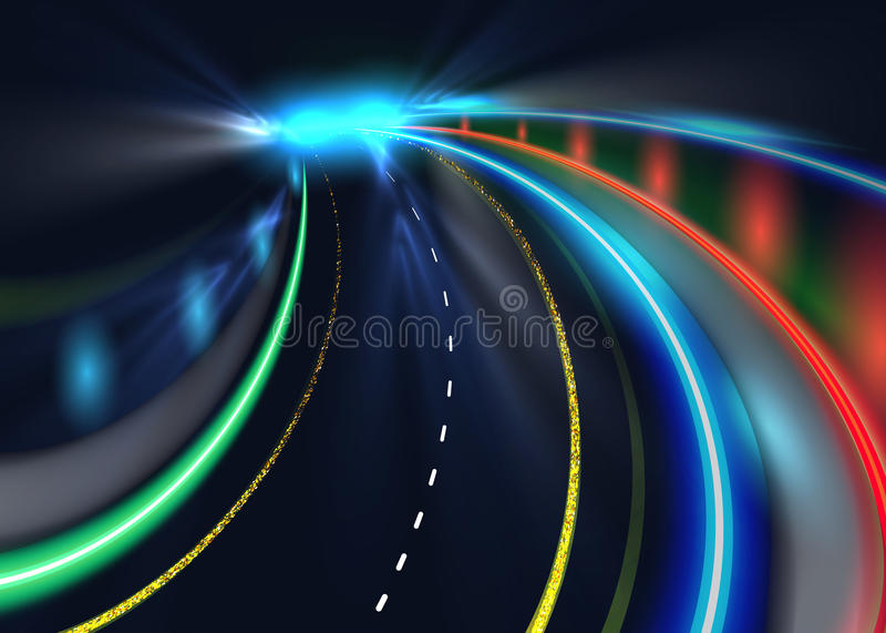 Fugas da luz do carro da estrada de cidade Fundo de alta velocidade do vetor Iluminação da estrada com ilustração do movimento do ilustração do vetor