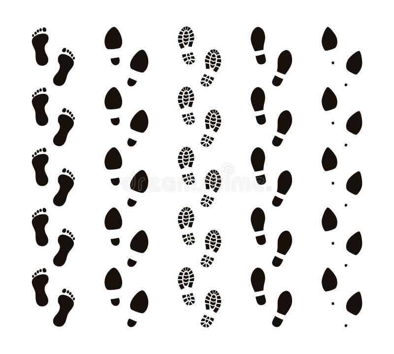 Fugas da pegada Os pés desencapados dos passos humanos, etapas engraçadas do pé dos povos, seguem o conceito, silhuetas pretas Ve ilustração do vetor