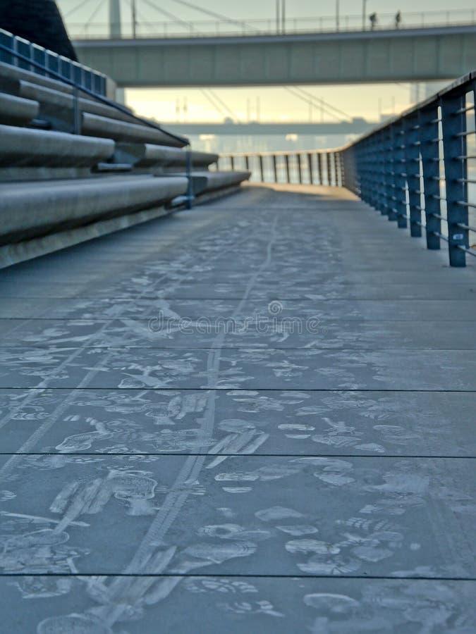Fugas das bicicletas e dos passos em uma estrada congelada ao longo do Reno do rio, água de Colônia foto de stock royalty free