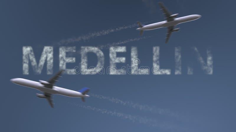 Fugas de voo dos aviões e subtítulo de Medellin Viagem à rendição 3D conceptual de Colômbia ilustração royalty free