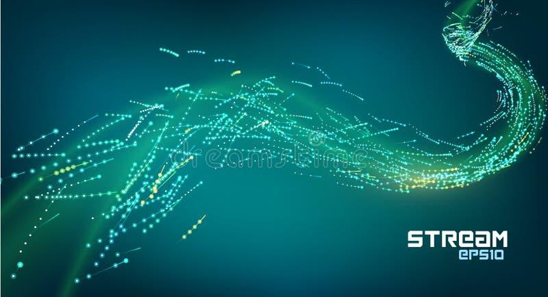Fugas do fluxo do movimento da partícula Córrego de dados futurista Efeito digital da faísca da energia ilustração stock
