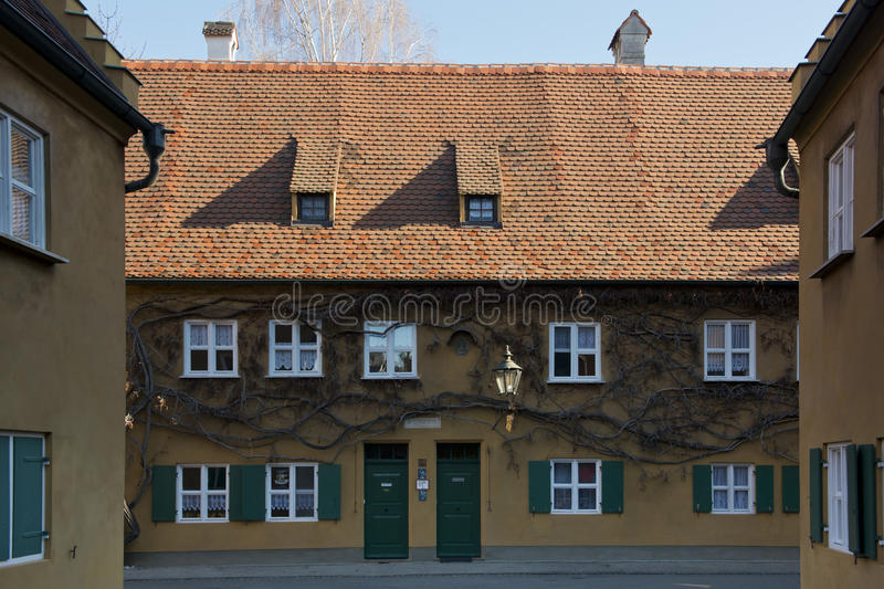 Fuggerei in Augsburg. The Fuggerai, world's oldest social housing complex in Augsburg, Bavaria royalty free stock photography