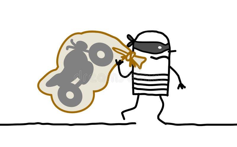 Fuggiree del ladro della motocicletta illustrazione vettoriale