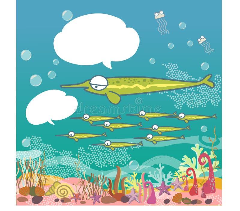Fugir aos saltos peixes debaixo d'água, oceano azul, escudos coloridos, recifes de corais submergem - desenhos animados da ilustr ilustração royalty free