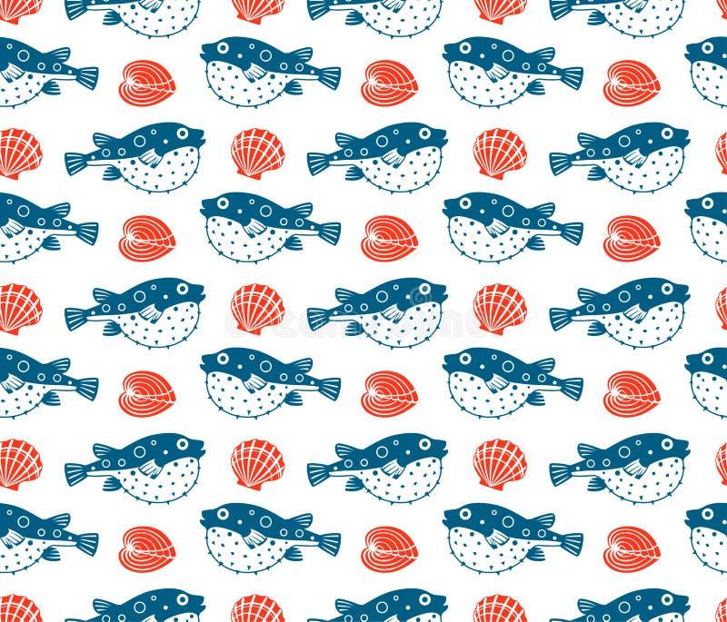 Fugu en shells, naadloos patroon royalty-vrije illustratie