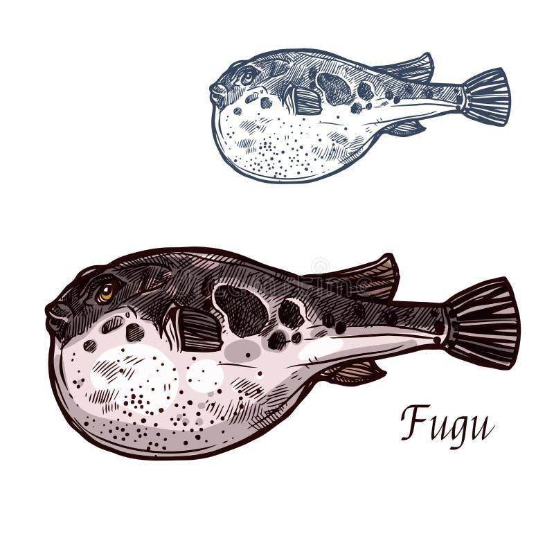 Fugu ryba nakreślenie japońscy pufferfish royalty ilustracja
