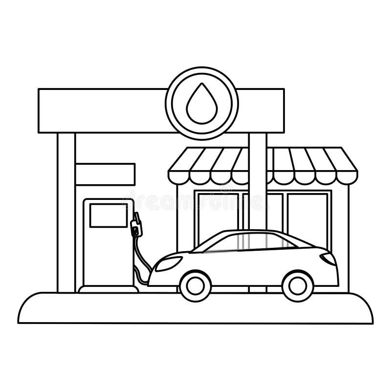 Fugure benzynowa stacja wypełnia up paliwo samochód royalty ilustracja