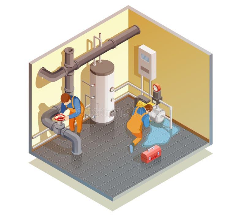 Fuite de chaudière de plombiers fixant la composition isométrique illustration de vecteur