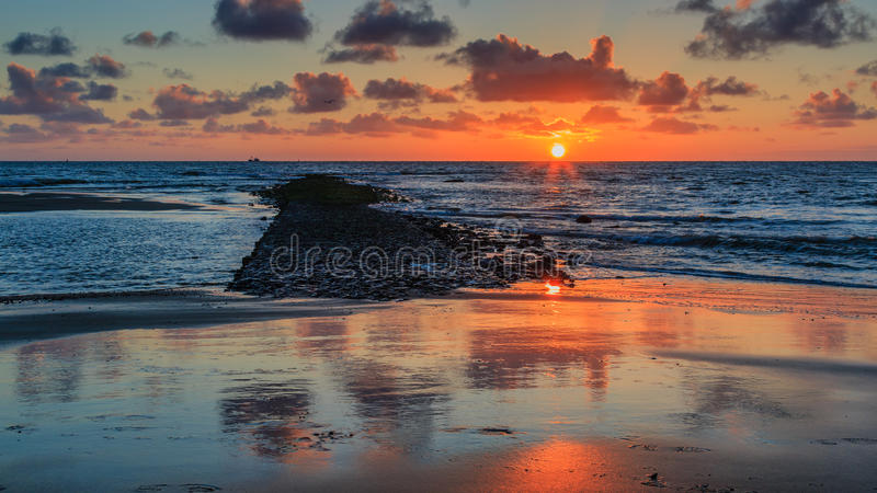 Fuite du coucher du soleil image stock