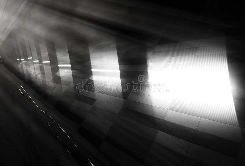 Fuite légère noire et blanche diagonale à l'arrière-plan de métro photographie stock