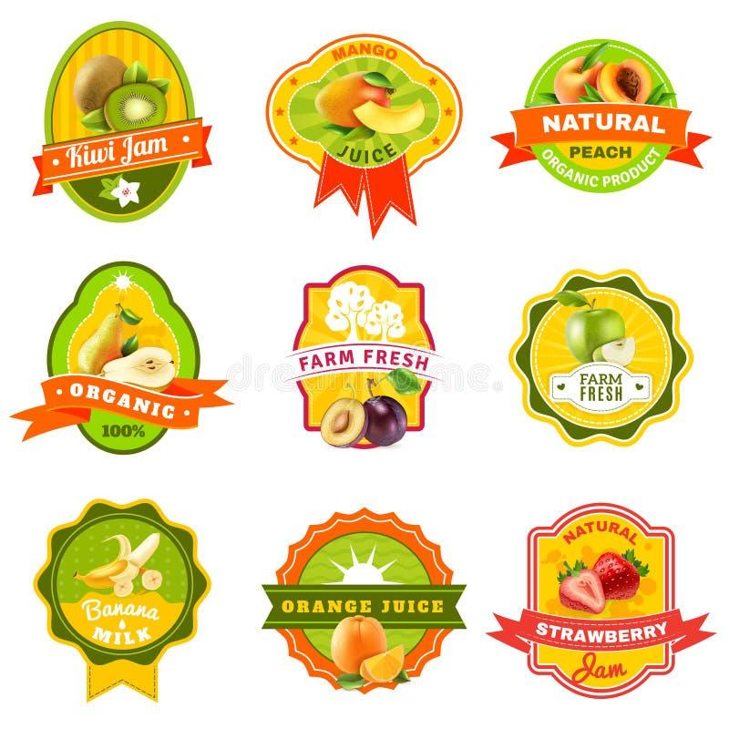 Fuits emblemata etykietka ustawiający kolor ilustracji