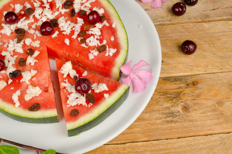 Fuity pizza. Fruity pizza with coconut shavings, creative kid food royalty free stock images