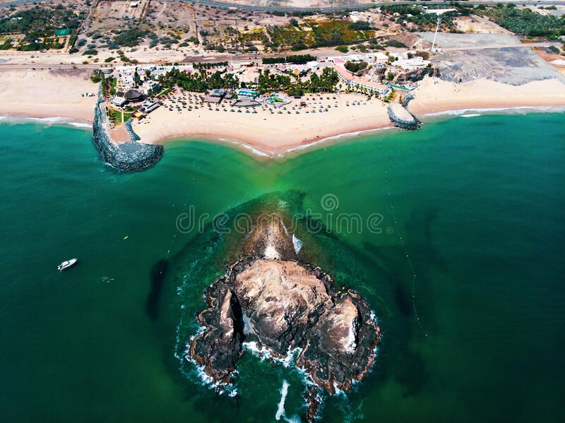 Fujairah sandy beach in the United Arab Emirates. Aerial view stock photography