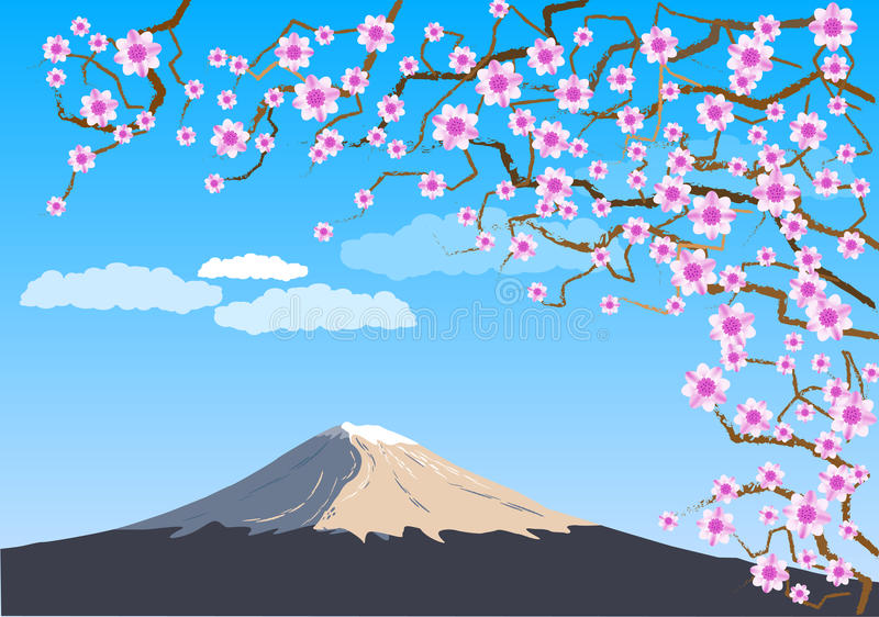Fuji. Japanese hill Fuji under the rose blooms royalty free illustration