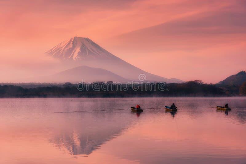 Fuji com o céu crepuscular no lago Shoji, Japão fotos de stock royalty free