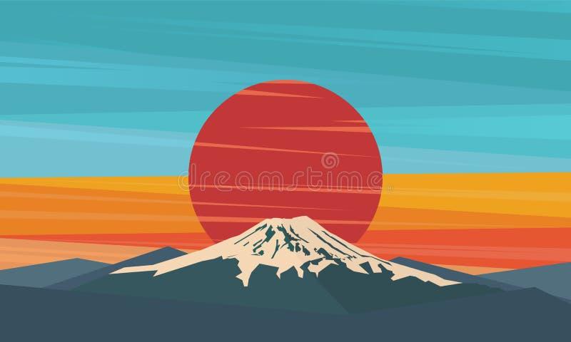 Fuji contro il tramonto rosso illustrazione vettoriale