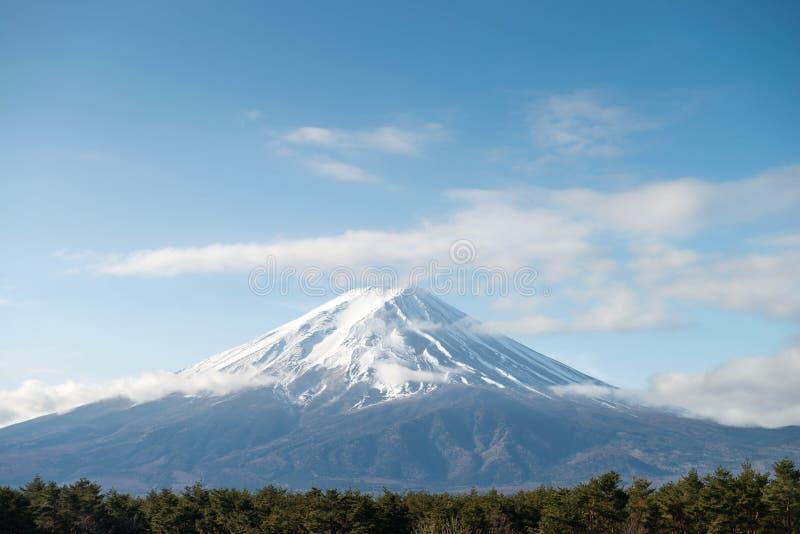Fuji góra w ranku z śnieżną pokrywą obraz royalty free