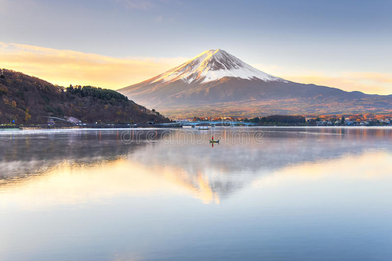 Fuji Lake Kawaguchiko at Chureito Pagoda royalty free stock photography
