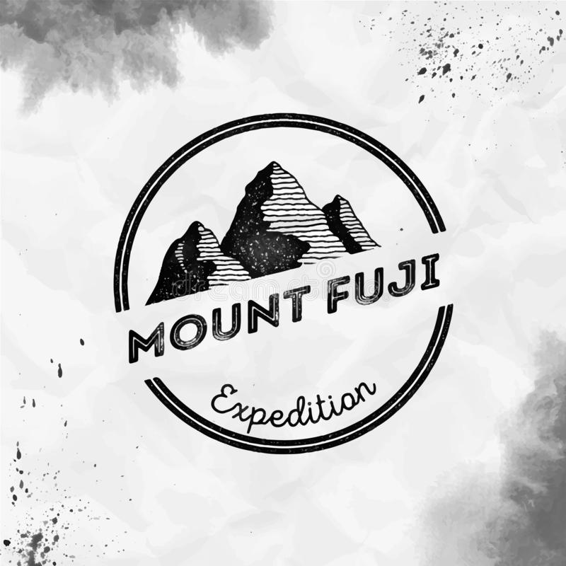 Fuji logo. Round expedition black vector insignia. Fuji in Honshu, Japan outdoor adventure illustration. Climbing, trekking, hiking, mountaineering and other stock illustration
