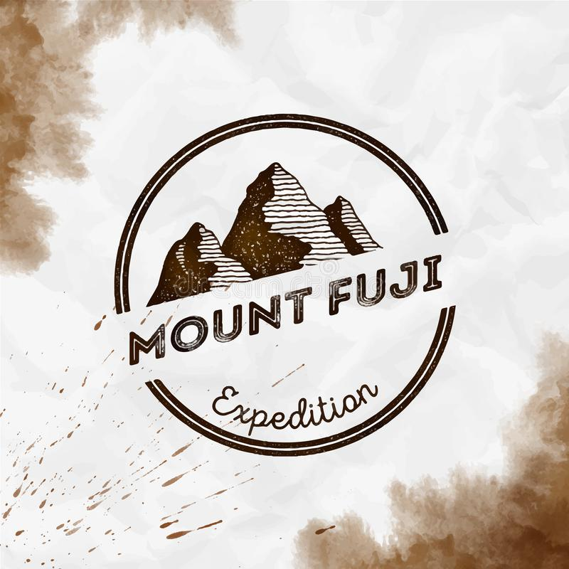 Fuji logo. Round expedition sepia vector insignia. Fuji in Honshu, Japan outdoor adventure illustration. Climbing, trekking, hiking, mountaineering and other royalty free illustration