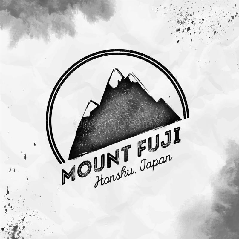 Fuji logo. Round mountain black vector insignia. Fuji in Honshu, Japan outdoor adventure illustration. Climbing, trekking, hiking, mountaineering and other royalty free illustration