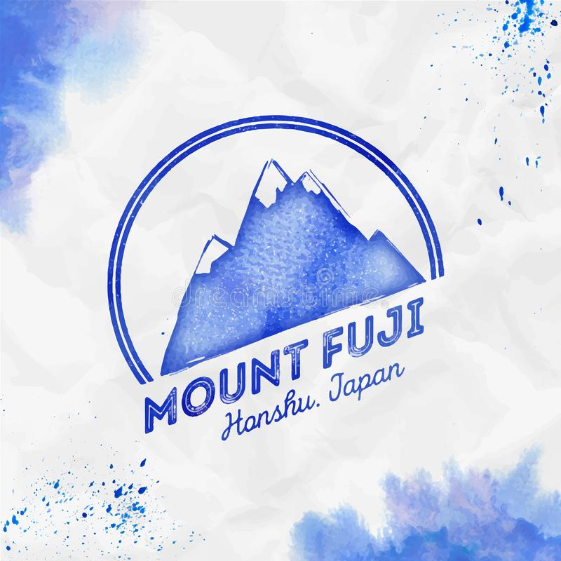 Fuji logo. Round mountain blue vector insignia. Fuji in Honshu, Japan outdoor adventure illustration. Climbing, trekking, hiking, mountaineering and other vector illustration