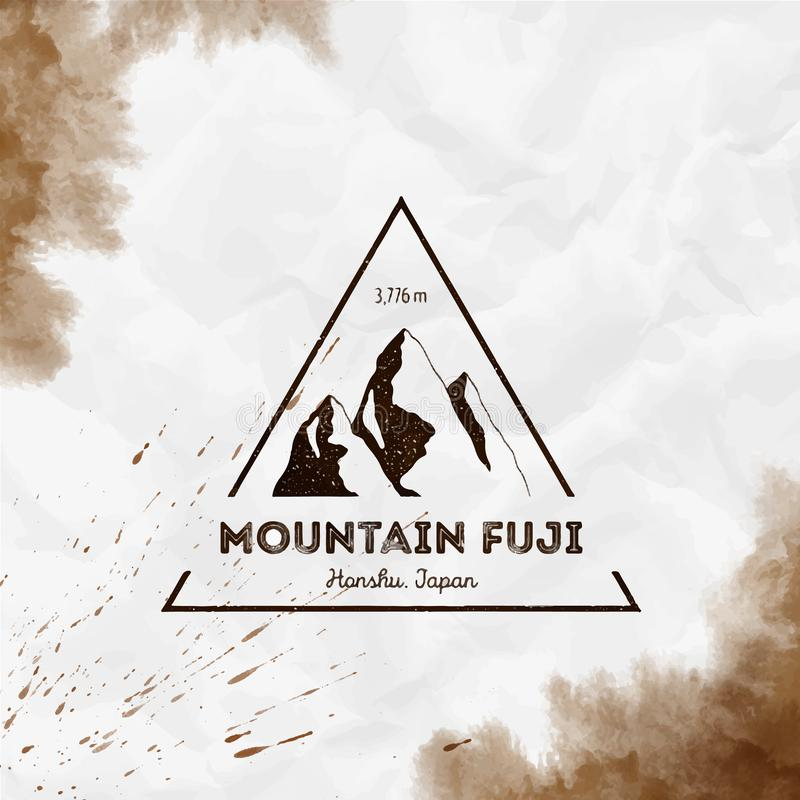Fuji logo. Triangular mountain sepia vector insignia. Fuji in Honshu, Japan outdoor adventure illustration. Climbing, trekking, hiking, mountaineering and stock illustration
