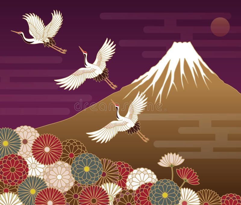 Fuji mountain, Cranes and Chrysanthemum flowers stock illustration