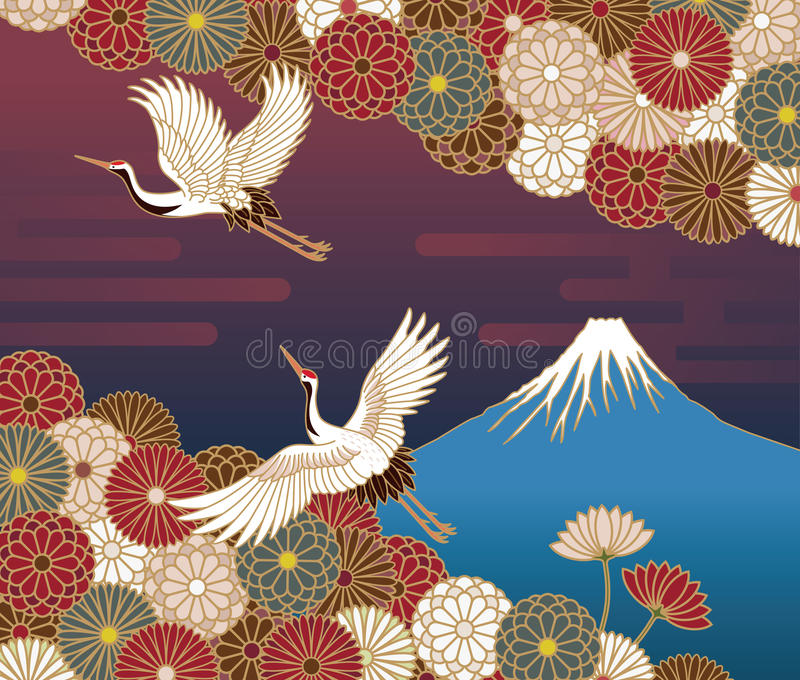 Fuji mountain, Cranes and Chrysanthemum flowers. Japanese traditional pattern royalty free illustration