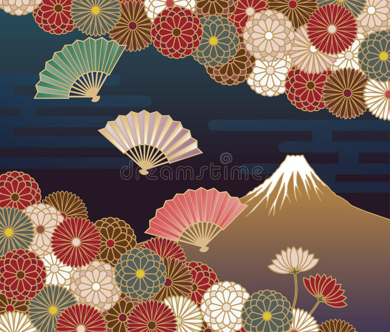 Fuji mountain, Hand-fan and Chrysanthemum flowers. Japanese traditional pattern vector illustration