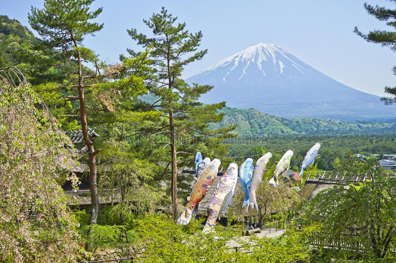 Fuji Mountain and Koi flag in the Japanese. royalty free stock image