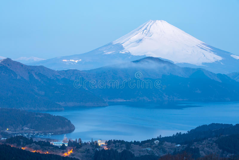 Fuji Mountain Lake Hakone Sunrise. Mountain Fuji in winter sunrise at Hakone Lake stock photo