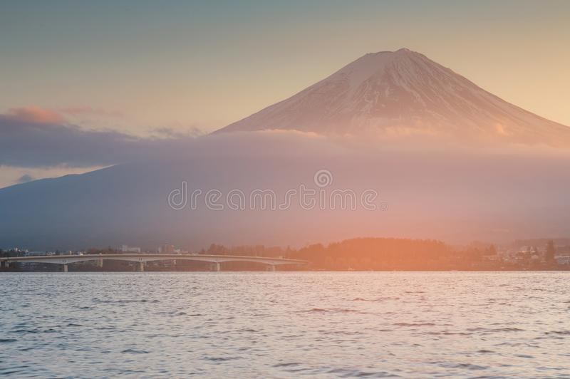 Fuji mountain over Kawaguchiko water lake, Japan royalty free stock images