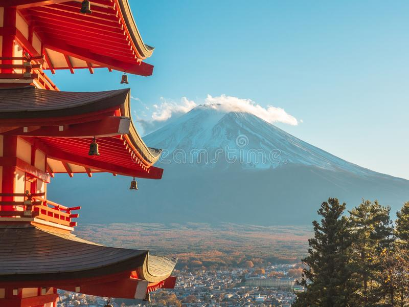 Fuji mountain with red pagoda in foreground. stock image