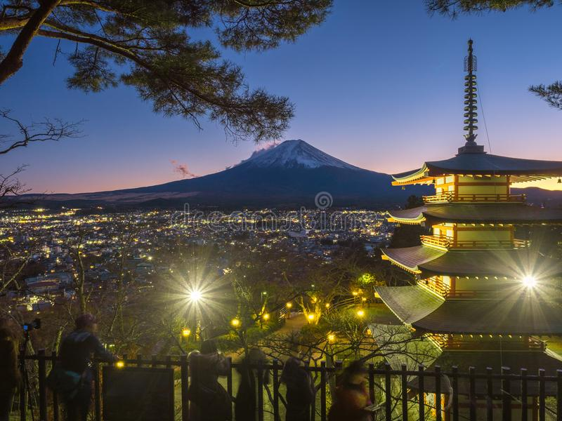 Fuji mountain with red pagoda in foreground. royalty free stock images
