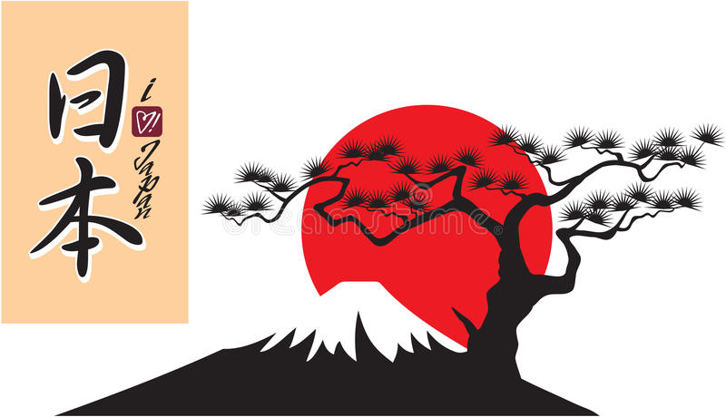 Fuji Mountain Shape. With Japan Calligraphy and I love Japan Script royalty free illustration
