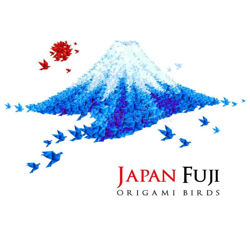 Fuji mountain shaped from origami birds stock illustration