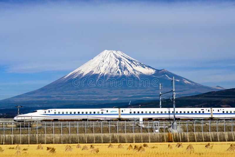 Fuji Mountain and Shinkansen Bullet Train royalty free stock images