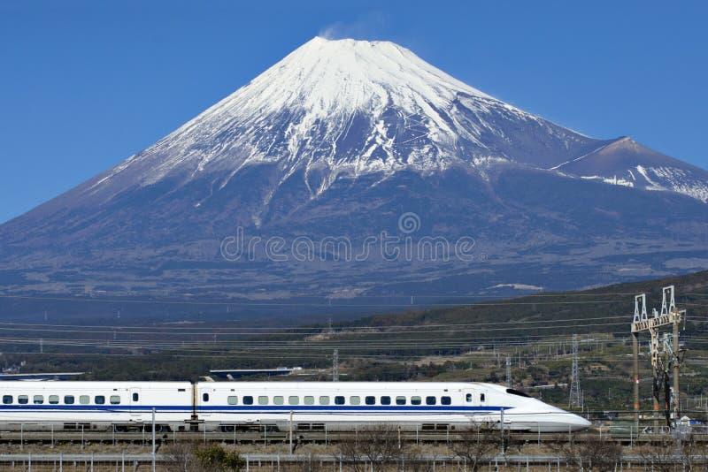 Fuji Mountain and Shinkansen Bullet Train stock images