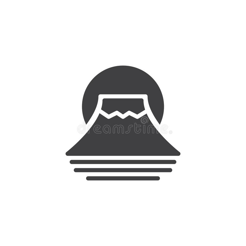 Fuji mountain vector icon. Filled flat sign for mobile concept and web design. Traditional Japanese Fujiyama mountain simple solid icon. Symbol, logo royalty free illustration