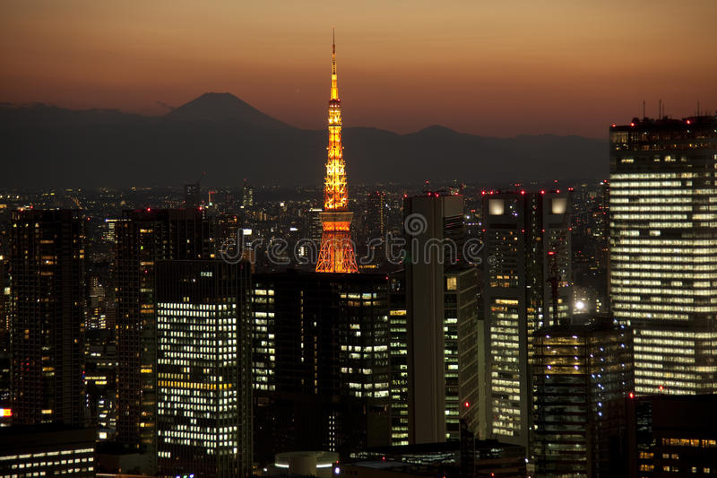 fuji mt noc Tokyo widok obraz royalty free