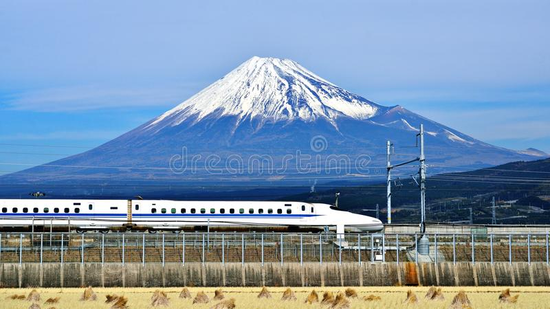 Fuji and Train royalty free stock photos