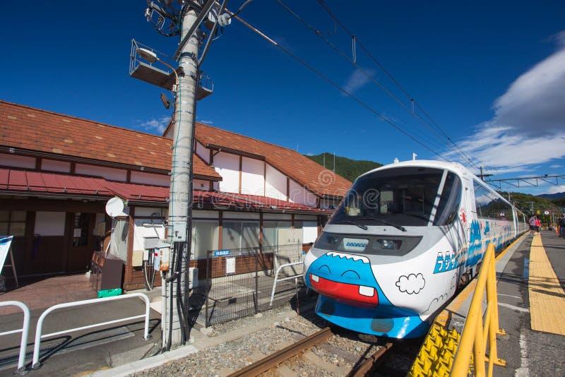 Fuji. Yamanashi, Japan - October 8, 2016 - 'Fujikyu express' is a cute train with Mount Fuji cartoon run from Otsuki station to Kawaguchiko station stock photography