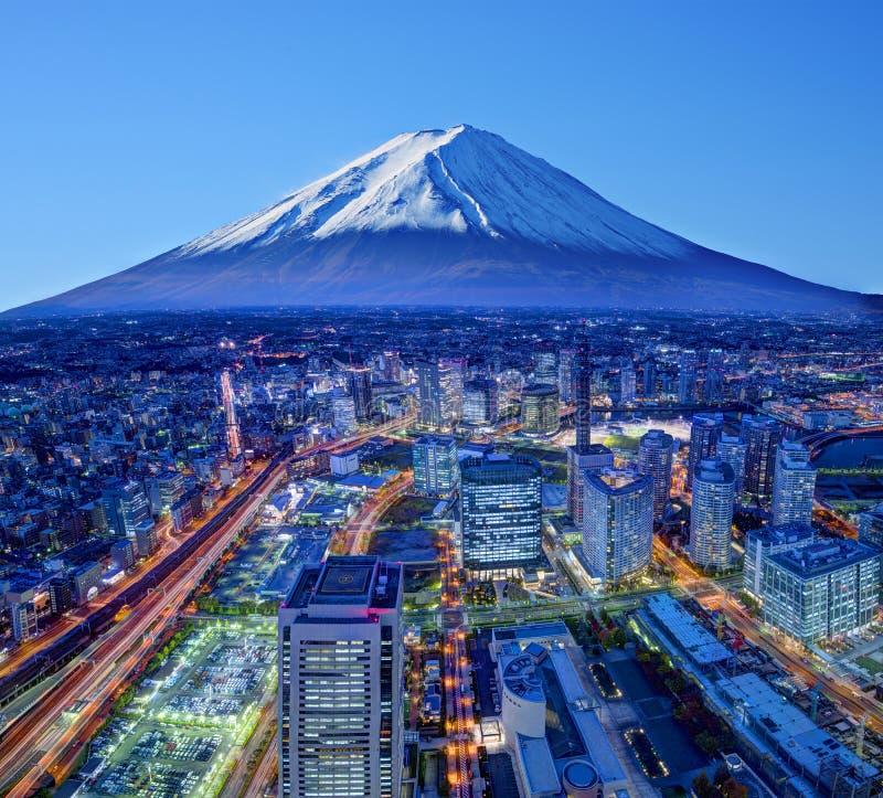 Fuji And Yokohama. Skyline of Mt. Fuji and Yokohama, Japan stock photography