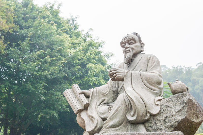 FUJIAN, CHINA - Dec 23 2015: Lu Yu Statue at The Grand View Tea. Garden. a famous Tourist spot in Anxi, Fujian, China royalty free stock images