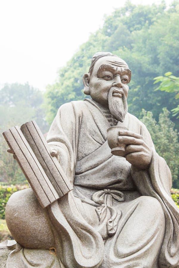 FUJIAN, CHINA - Dec 23 2015: Lu Yu Statue at The Grand View Tea. Garden. a famous Tourist spot in Anxi, Fujian, China stock images