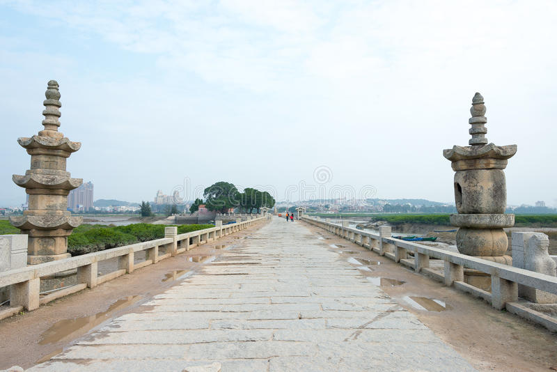 FUJIAN, CHINA - Dec 29 2015: Luoyang Bridge. a famous historic s. Ite in Quanzhou, Fujian, China stock photo