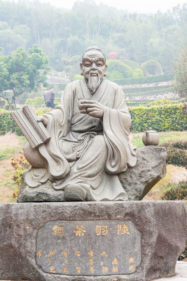 FUJIAN, CHINE - 23 décembre 2015 : Statue de Lu Yu au thé grand de vue images stock