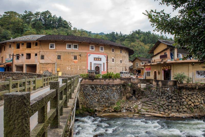Fujian Tulou: Kinesisk traditionell hemborggård arkivbild
