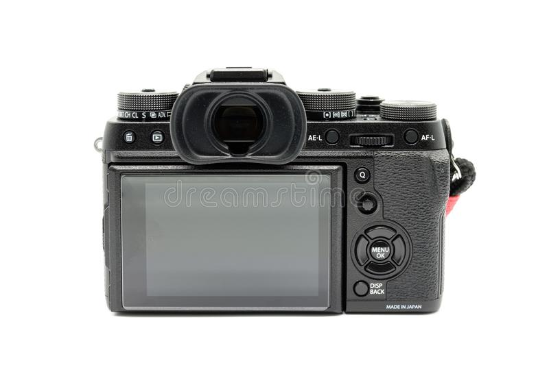 Fujifilm X-T2 Camera Body Isolated on a white background. Largs, Scotland, UK - November 22, 2018: Fujifilm X-T2 Camera body being the bigger brother to the X royalty free stock photo